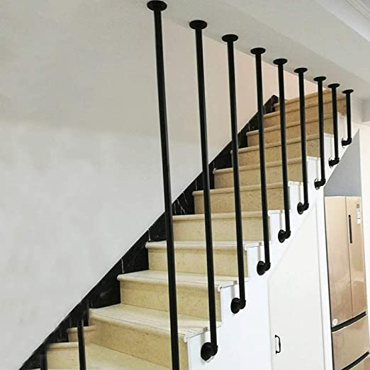 Amazon Com Yude Wrought Iron L Shaped Pipe Stair Handrail Black   Black Pipe Stair Railing   Diy   90 Degree Stair   Banister   Outdoor Stair   Stainless Steel