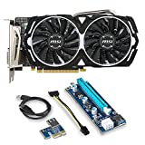 MSI VGA Graphic Cards Bundle 2 Items: RX 570 ARMOR 4G OC DDR5 and Riserfor for Etheruem Zcash Cryptocurrency Mining