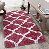 Ottomanson FFR2000-3X5 Flokati Trellis Design Shag Runner Rug, 2'7' x 5', Red
