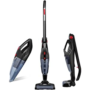 Deik Vacuum Cleaner, 2 in 1 Cordless Vacuum Cleaner, Lightweight Stick and Handheld Vacuum, High-power Rechargeable Bagless Vacuum with Upright Charging Bas
