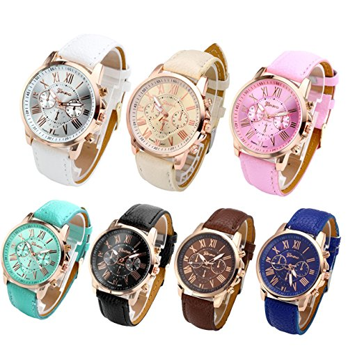 "61E6gIuwdcL Package includes: 7 watches+ 1 grey gift bag printed brand name""Top Plaza""+1 black gift box Total Length: 6.5-8'';Net weight: 34g Watch Material: alloy+PU leather"
