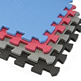 Interlocking Foam Mats | Thick EVA Exercise Flooring | Soft & Non Toxic Kids Play Tiles | Puzzle for Children & Baby Room | Yoga Squares Babies Cushion Garage Gym Anti Fatigue Rubber Fitness Board