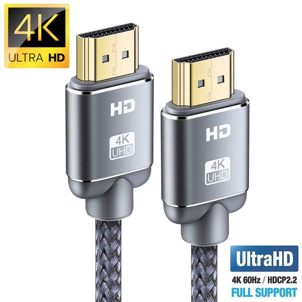 Câble HDMI 4K 2m - Snowkids Câble HDMI 2.0 High Speed par Ethernet en Nylon Tressé Supporte 3D/ Retour Audio - Cordon HDMI pour Lecteur Blu-Ray/Xbox/Xbox 360/ PS3/ PS4/ TV 4K Ultra HD/Ecran - Gris