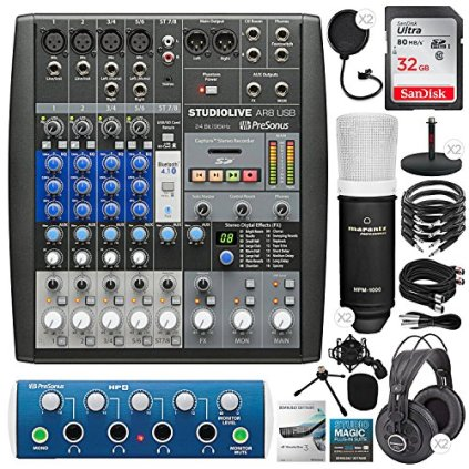 PreSonus-StudioLive-AR8-USB-8-Channel-Hybrid-Performance-and-Recording-Mixer-with-ProSonus-HP4-4-Channel-Headphone-Amplifier-32GB-Card-2X-Condenser-Microphones-Premium-Podcasting-Kit