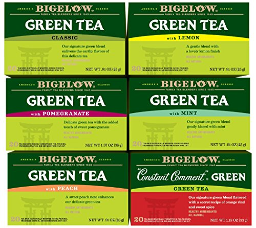 Bigelow Green Tea 6 Flavor Variety Pack, 20 Count Box (Pack of 6) Caffeinated Green Teas, 120 Tea Bags Total