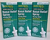 Nasal Relief Spray, Pump Mist, Anti-drip, Severe Congestion, (Oxymetazoline HCI ) 12 Hours, 3 Pack. by Assured