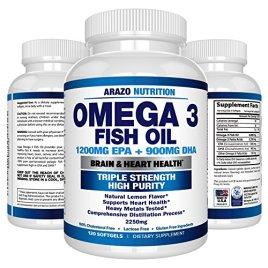 Omega 3 Fish Oil 2250mg | HIGH EPA 1200MG + DHA 900MG Triple Strength Burpless Capsules | 120 Pills | Arazo Nutrition