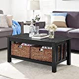 WE Furniture 40' Wood Storage Coffee Table with Totes, Black, 40'