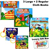 PlayShire Soft Books (0-3Yrs). Activity Crinkle Books, Non-Toxic Cloth Books Set for Newborns, Infants & Toddler Toys. Interactive Baby Girl & Baby Boy Toys Box. Baby Toys - 5 Books