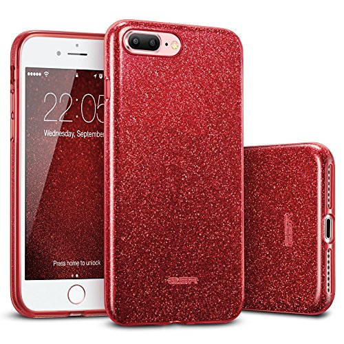 ESR iPhone 8 Plus Case, iPhone 7 Plus Case,Glitter Sparkle Bling Case [Three Layer] for Girls Women [Supports Wireless Charging] for Apple 5.5' iPhone 8 Plus/7 Plus(Red)
