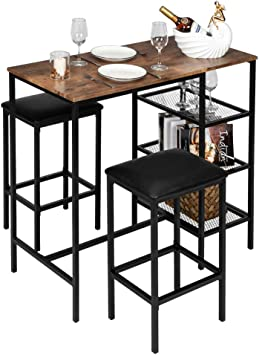 Amazon Com Vingli Bar Table Set 3 Piece Counter Height Dining Set Vintage Pub Dining Set With Storage Shelves Wood Bar Table And 2 Upholstered Stools For Kitchen Bar Living Room Party Room