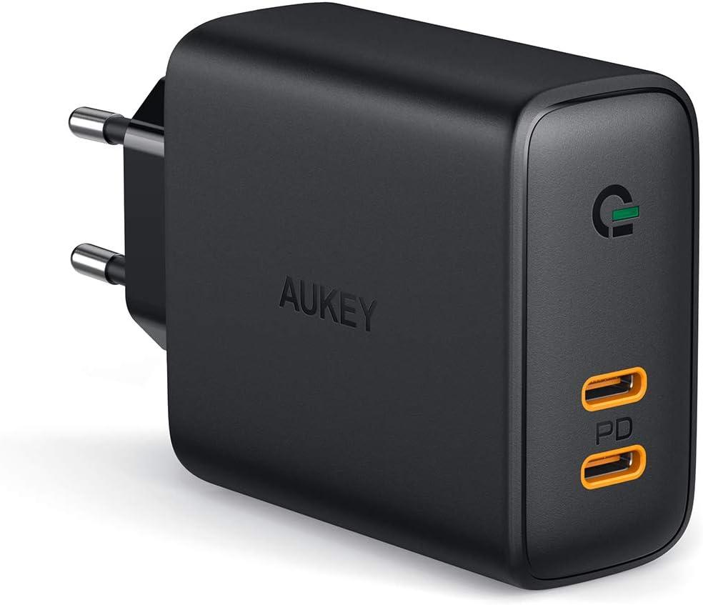 AUKEY USB C Chargeur Secteur avec 36W Power Delivery 3.0 & Dynamic Detect, Deux Ports USB C Chargeur Mural pour iPhone 11/11 Pro/ 11 Pro Max, Xiaomi 9, Redmi Note 7, Huawei, MacBook Air etc