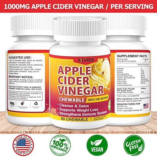(2 Pack)Organic Apple Cider Vinegar Pills with The Mother for Weight Loss, Detox & Cleanse, ACV Pills for Women, Vegan Apple Cider Vinegar Tablets 1000mg Alternative to ACV Gummies, Capsules-120 Tabs 5