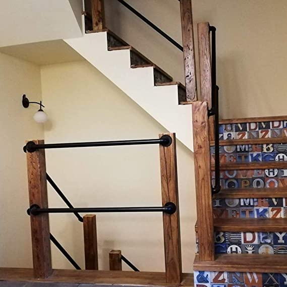 Black Metal Wrought Iron Handrails For Stairs Railing Indoor | Iron Handrails For Outdoor Steps | Deck | Simple | Outside | Free Standing | Galvanized Iron