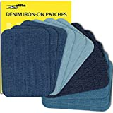 ZEFFFKA Premium Quality Denim Iron On Jean Patches Shades of Blue 12 Pieces Cotton Jeans Repair Kit 3' by 4-1/4'