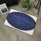 Pool Anti-Slip Door mat W35 x L47 INCH Constellation,High Detailed Sky Map of Northern Hemisphere with Names of Stars, Blue Cream Violet Blue Easy to Clean, Easy to fold,Non-Slip Door Mat Carpet