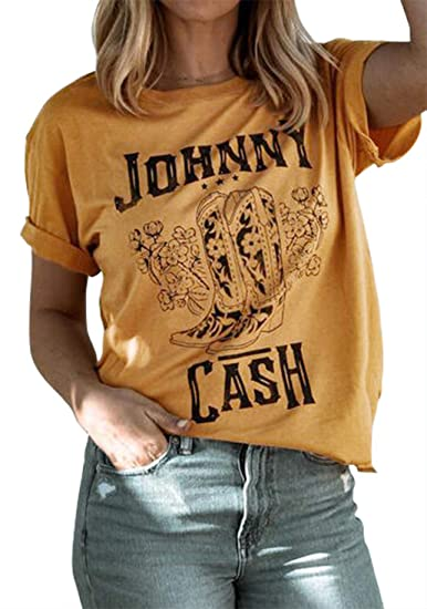 Womens Johnny Cash Short Sleeve T-Shirt Vintage Letter Graphic T Shirt Country Music Party Blouse Short Sleeve Tees (Large, Yellow)
