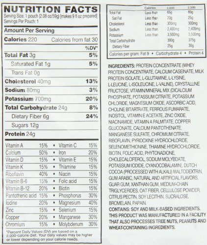 advocare meal replacement shake ingredients