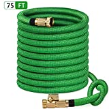 SunGreen 75ft Garden Hose, All New 2019 Expandable Water Hose with 3/4' Solid Brass Fittings, Extra Strength Fabric - Flexible Expanding Hose with Free Storage Sack