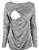 Breastfeeding Shirt Long Sleeve Maternity Breastfeeding and Nursing Tops (M, Black stripes)