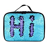 Sequin Lunch Box, Reversible Sequin Flip Color Change, Insulated, Quick and Simple Organization, Perfect for Working Women or Kids (Blue-Purple)