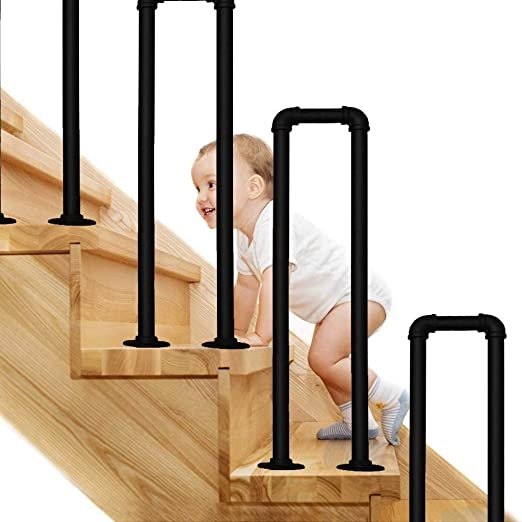 Amazon Com Cmmc U Shaped Wrought Iron Handrail Step Matte Black   Wrought Iron Handrails For Outside Steps   Stair Covering   Front Porch   Metal