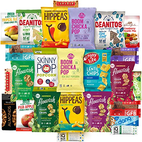 Healthy Vegan Snacks Care Package (25 Count) - Mixed Premium Variety Pack - Includes Assortment of Chickpea Puffs, Popcorn, Chips, Trail Mix, Fruit, Health Bars - Multiple Flavors Fun Snack Gift Box