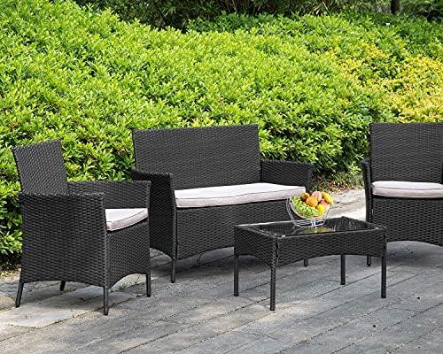 Patio Furniture 4 Pieces Outdoor Indoor Use Rattan Chairs Wicker Conversation Sets for Backyard Lawn Porch Garden Balcony,Black