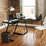 Walker Edison D51Z29 Soreno L-Shape Desk, 29' x 20' x 51', Black/Clear