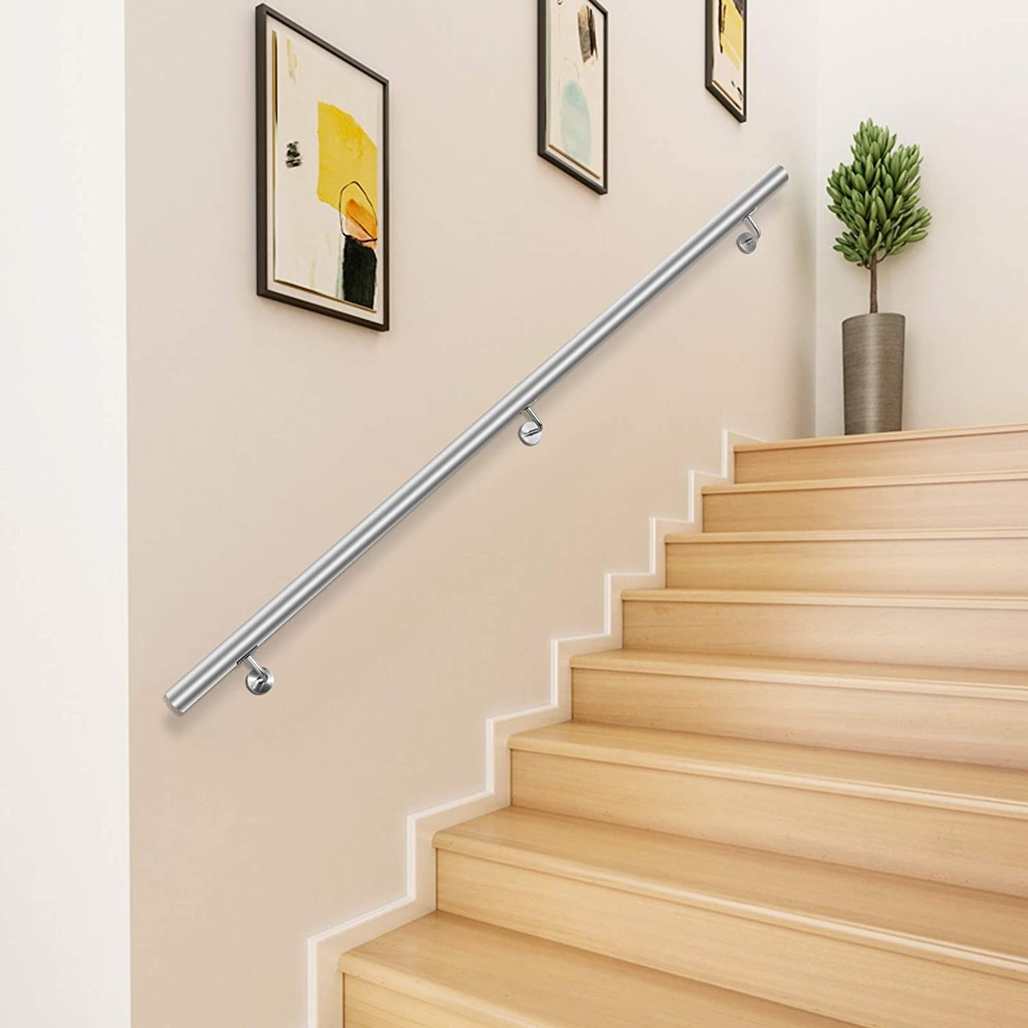 Happybuy 3 Feet Stair Handrail Stainless Steel Wall Stair Rail | Handrail For Stairs Indoor | Short Staircase | Victorian | Width Hand | Wall | Glass Panel Stainless Steel Handrail