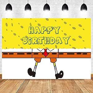 Children s Cartoon Birthday Backdrop 9x6ft Sponge Theme