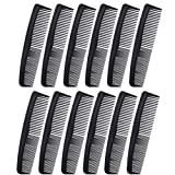 Favorict (12 Pack) Flexible Thin 5' Pocket Hair Comb Beard & Mustache Combs for Men's Hair Beard Mustache and Sideburns (Black)