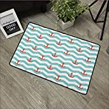Pool anti-slip door mat W24 x L35 INCH Anchor,Simple Pattern Anchor Stripe Artwork Baby Welcoming Wavy Water Tiled Surface, Red Turquoise Easy to clean, no deformation, no fading Non-slip Door Mat Car
