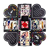 PartyTalk Creative Explosion Box DIY Handmade Photo Album Scrapbooking Gift Box for Wedding Engagement Anniversary Valentine's Day Birthday Gifts, Black