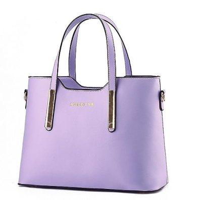 Fashion Road PU Leather Womens Shoulder Bags Top-Handle Handbag Tote Purse Bag Purple