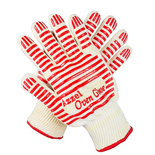 Azzel Heat Resistant Gloves,EN407 Certified Oven Mitts with Fingers,Non-Slip Silicone Grip...