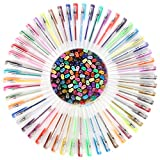 Gel Pen Set For Easy Coloring - Best Pack with 100 Pens & 60% More Ink in Milky Glitter Neon Metallic & Rainbow Style - Perfect for Your Adult Coloring Books - Safe for Kids Non - Toxic & Acid Free