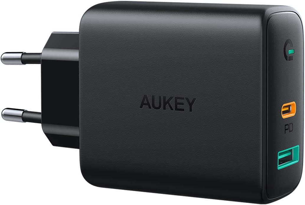 AUKEY USB C Chargeur Secteur USB avec Dynamic Detect, Chargeur Mural avec 30W USB C Power Delivery 3.0 pour iPhone 11 Pro / 11 Pro Max / 11 / XS, Pixel 3 / 3XL, MacBook Air, Airpods Pro.etc.