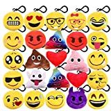 KUUQA 25 Pack Emoji-Pop Plush Pillow Keychain Emoji Party Supplies Easter Egg Filler Easter Gift for Kids Car Key Ring Pendant Keychain Decorations 2""