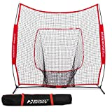 Rukket 7x7 Baseball & Softball Net | Practice Hitting, Pitching, Batting and Catching | Backstop Screen Equipment Training Aids | Includes Carry Bag