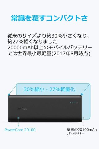 Anker PowerCore 20100 コンパクトサイズ