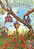 Toland Home Garden 112097 Toland-Poppies and Birdhouses-Decorative Welcome Flower Spring Summer USA-Produced Garden Flag