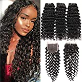 9A+ Brazilian Deep Wave Human Hair 3 Bundles with Lace Closure 4X4 Free Part 100% Unprocessed Brazilian Deep Cruly Hair Weave Bundles Natural Color(12'' 14'' 16'' + 10 Closure)
