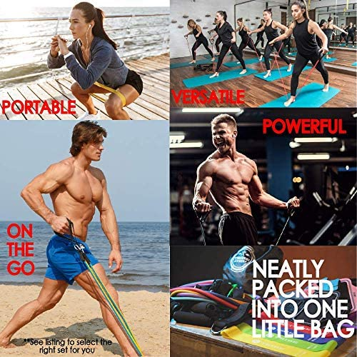 Tribe 11PC Premium Resistance Bands Set, Workout Bands - with Door Anchor, Handles and Ankle Straps - Stackable Up To 105 lbs - For Resistance Training, Physical Therapy, Home Workouts, Yoga, Pilates 7