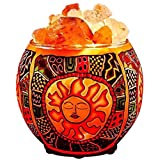 Himalayan CrystalLitez Himalayan Salt Lamp With Dimmer Cord,Pure Salt Crystals In A Handcrafted and Glowing Artisan Bowl, Air Purifier and Salt Lamp UPGRADED designs (Ethnic Tribal Sun)