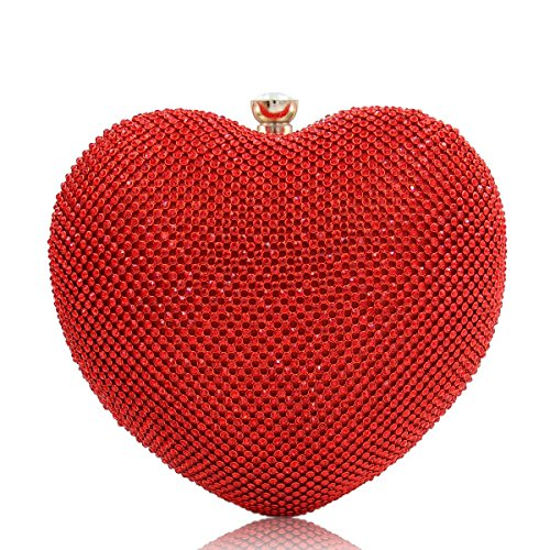 Milisente Women Heart Rhinestone Evening Handbag Fashion Clutch Purse (Red)
