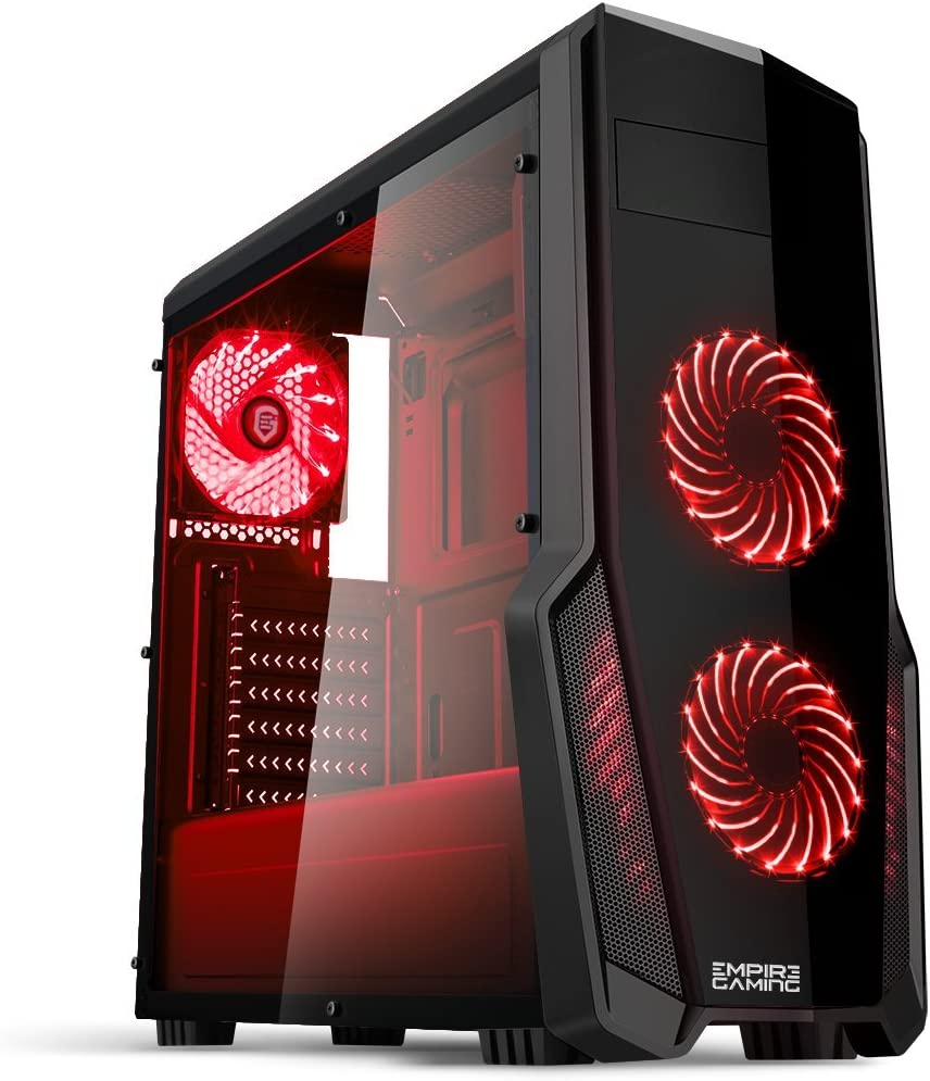 EMPIRE GAMING - Boitier PC Gamer WareFare Noir - 3 Ventilateurs LED Rouge 120 mm - Paroi teinté et Transparent - Compatible ATX/mATX/mITX