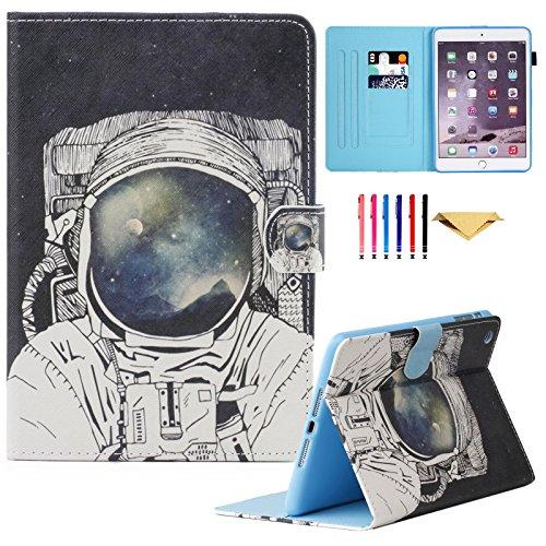 iPad Mini Case,Mini 2 3 Case MonsDirect Leather Smart Kickstand Case Colorful Flip Wallet Protective Cover Compatible with Apple iPad Mini 1 2 3, Astronaut