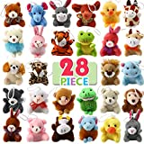 28 Piece Mini Plush Animal Toy Set, Cute Small Animals Plush Keychain Decoration for Themed Parties, Kindergarten Gift Giveaway, Teacher Student Award, Goody Bags Filler For Boys Girls Child Kid