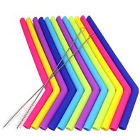 Paquete de 12 pajitas de silicona, YuCool reutilizables, extra largas, con 2 cepillos para vaso YetiRtic de 30 ml, diámetro de 1,27 cm, longitud de 24,06 cm – 6 colores